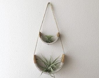 2 Tier Hanging Air Plant Holder - Speckle Stoneware Planter Dipped in Gloss White