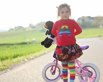 Girls Rainbow Stripes and Bikes Outfit - Bodysuit/Shirt, Skirt and Leg Warmer Set for Baby, Toddler, Children, Kids - Birthday Party Gift