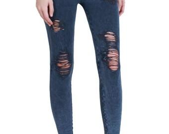 Vintage Destroyed Ripped Leggings, Ripped Leggings, Cut leggings