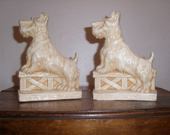 Vintage Scotty Dog Syroco Wood Bookends