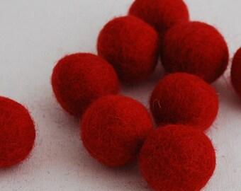 2.5cm Felt Balls - Red - Choose either 20 or 100 felt balls