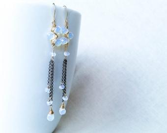 Mixed Metal Opalite Oxidized Chain Drop Earrings OOAK Unique Chandelier Earrings 14k Gold Fill Gemstone Earrings Valentine's Day Gift