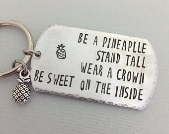 Pineapple Keychain, Encouragement Gift, Motivational Keychain, Inspiration Gift, Friends Gift, Graduation Gift