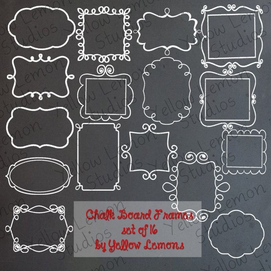Chalkboard frames SWIRLY FRAMES hand drawn chalk