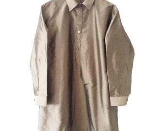 GreenGrey1Q. Silk. Pure Silk. Mother pearl buttons. Handmade. Ribbons inside. cmz collection. cmz.