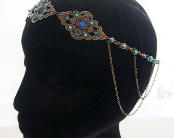 "Forehead / Headband / Tiara / Circlet / Hair ornament Accessory ""EVA"" / Elven Elf  Fairy / Color Brass & Blue"