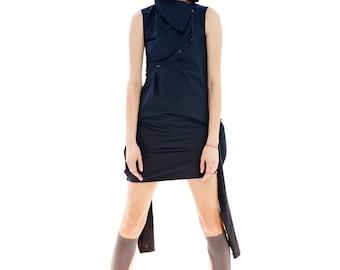 Plus Size Dress, Black Minimalist Dress, Plus Size Tunic, Black Tunic Dress, Black Midi Dress, Sleeveless Tunic, Summer Dress