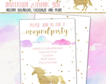 "Unicorn Party Invitation & Thank You Card, Editable/Printable Unicorn Birthday Invitation, 5x7"" Flat Invite Fillable PDF INSTANT DOWNLOAD"