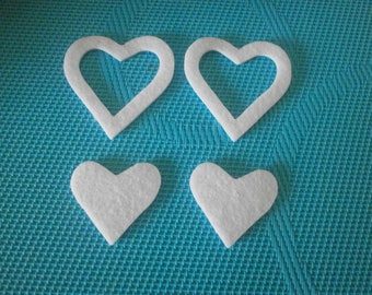 set of 4 hearts: 2 full and 2 hollow felt paste