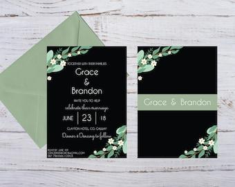 SAMPLE | Hermitage Green Wedding Invitation  5x7 Double Sided Black