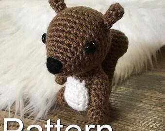 Little Squirrel Crochet Pattern, Crochet Squirrel, Amigurumi Squirrel, Crochet Pattern, Woodland Crochet, Amigurumi Pattern, Baby Squirrel