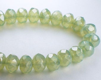 Laurel Green Czech Glass Beads 6x8mm Faceted Rondelle Beads 10 Pcs. RON8-626-B