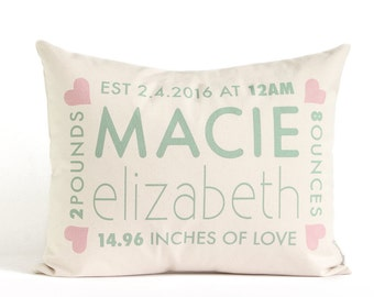 Personalized Birth Announcement Pillow, New Baby, Baby Shower Gift, Personalized Pillow, First Birthday, New Parents, Nursery Pillow