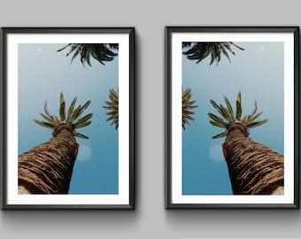 Set of 2, Palm Trees print, Minimalist, Palm Tree print, Modern art, Wall art, Digital art, Digital poster Instant Download 18x24 and 5x7
