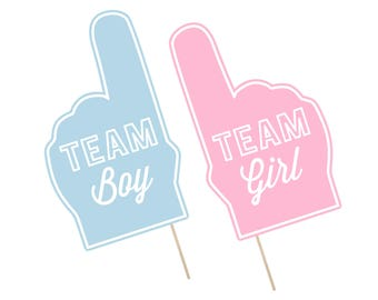Printable Gender Reveal Photo Booth Props . Gender Reveal . Team Boy/Team Girl . It's A Boy/Girl . Fan Foam Finger . Instant Download