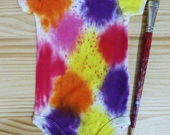 Art Attack- 9-12 month old baby t-shirt tie dye romper