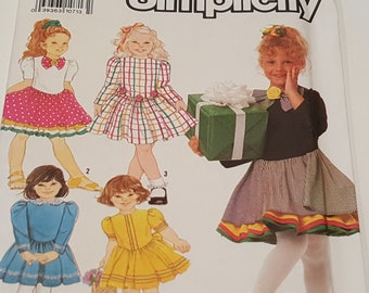 1990 Girls Dress Pattern Size 2-6x Factory Folded