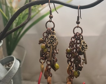 Olive green and bronze cluster earrings with keys and hearts #18feb911