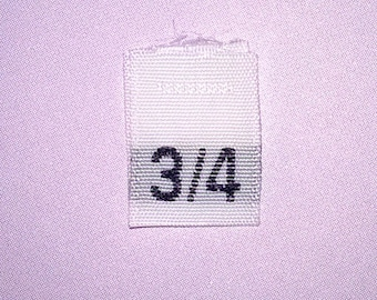 Size 3/4 (Three-Four) Woven Clothing Size Tags (Package of 500)