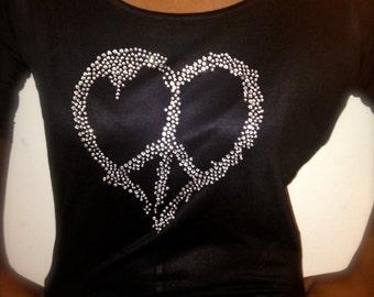 Ladies Off The Shoulder Peace Sign Shirt. Off The Shoulder Rhinestone Shirt. Ladies Peace Sign Bling Shirt. Comfy ladies t-shirt. Mom shirt.