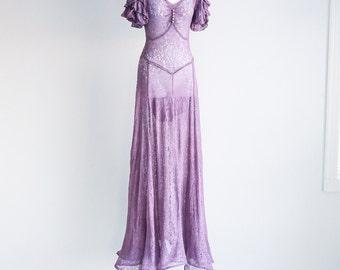 Lavender Lace 30's Dress - Sz xS