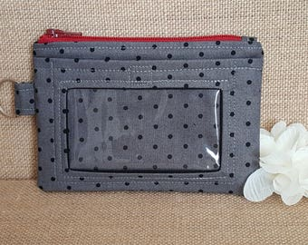 ID Wallet / Keychain Wallet / ID Holder in Black Polka Dots
