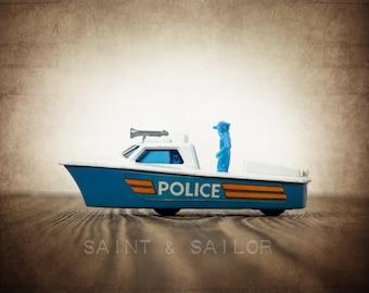 Vintage Matchbox Blue and White Police Boat , Photo Print, Boys Room decor, Boys Nursery Prints, Army Room Decor