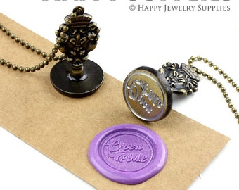 Personalized Wax Seal Stamp / Customized Design Your Own 22mm Wax Seal Stamp Necklace (WS001-B) Custom Wedding Wax Seal Stamp