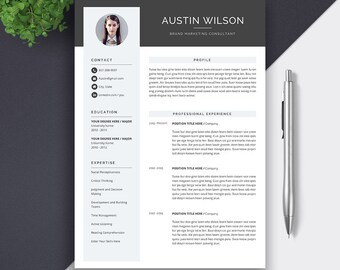 Professional Resume Template, CV Template, Cover Letter, MS Word, Mac PC, Creative Resume, Modern Teacher Simple Resume, Icon Set, Austin