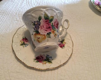 Crown Dorset  China Cup and Saucer with Pink Floral Bouquet