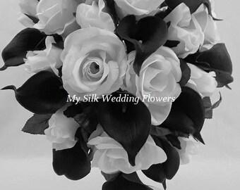 Black, White, Roses, Real Touch, Calla lilies, Silk, Wedding, Bridal, Cascade, Bouquet