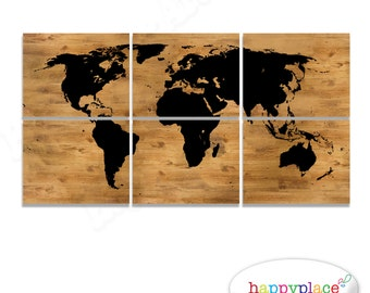 World map print world map poster black and white map black black world map print panels as printable digital files six images includedwood grain gumiabroncs Choice Image
