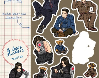 bucky barnes winter soldier captain america vinyl kiss cut stickers sheet great for decorating planners