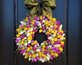 SPRING WREATHS, Tulips for Front Door, Front Door Wreath, Mother's Day Wreath,  Easter Wreaths,  Easter Tulips, Mother's Day Tulips