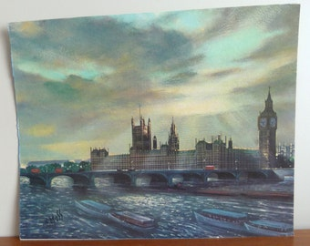 """60s Lithograph - Big Ben and the Houses of Parliament - H Moss - London City Scene - The Thames River - Vintage 1960s - 16"""" x 20"""""""