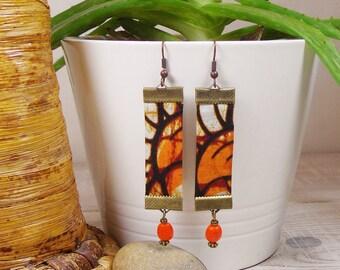 Earrings Wax, long orange and brown tones