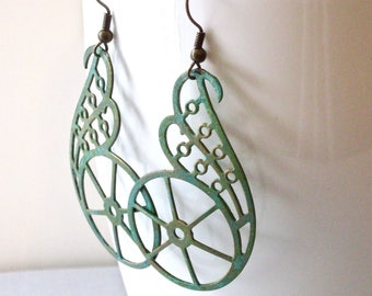 Spoke Earrings - Steampunk Earrings, Long Earrings, Lightweight Earrings, Patina Jewelry, Verdigris Earrings