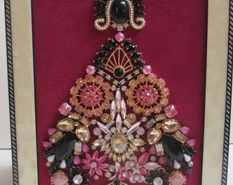 Jeweled Framed Jewelry Art Christmas Tree Art Deco Fuchsia Pink Black