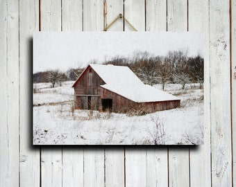 Winter Red Barn - Winter photography - Old Barn photography - Old Barn in Snow photography - Winter Decor - Winter art