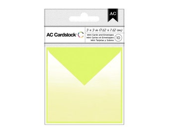 Lime Green Ombre Blank Gift Cards and Envelopes for Stamping, Embellishing, Etc. Set of 10 3x3 Cards and 10 Envelopes