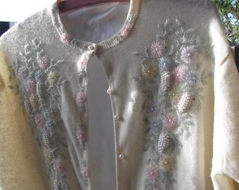 Vintage Ladies Bejeweled Sweater,Small, long sleeves, cardigan style