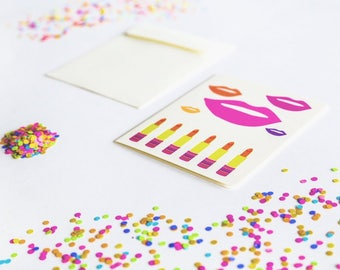 Gift for Her: Lipsticks and Lips Greeting Card