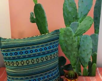 Free Spirit Aqua Stripes Cushion Cover, Decorator Fabric, Made in Australia, Boho Style, Throw Pillow, Mexican, Santa Fe