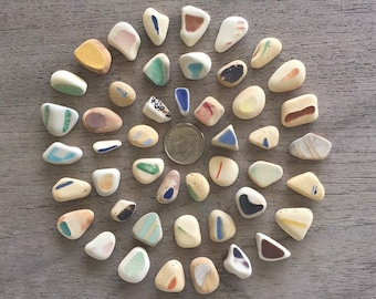 PRICE REDUCED - 46 Vintage Pottery Shards (Genuine Beach Sea Glass) Mixed Colors & Sizes -Z64