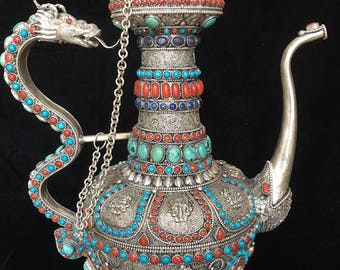 Masterpiece Nepal Pure Silver Gem Inlay Lapis Coral Turquoise Dragon Teapot Flagon
