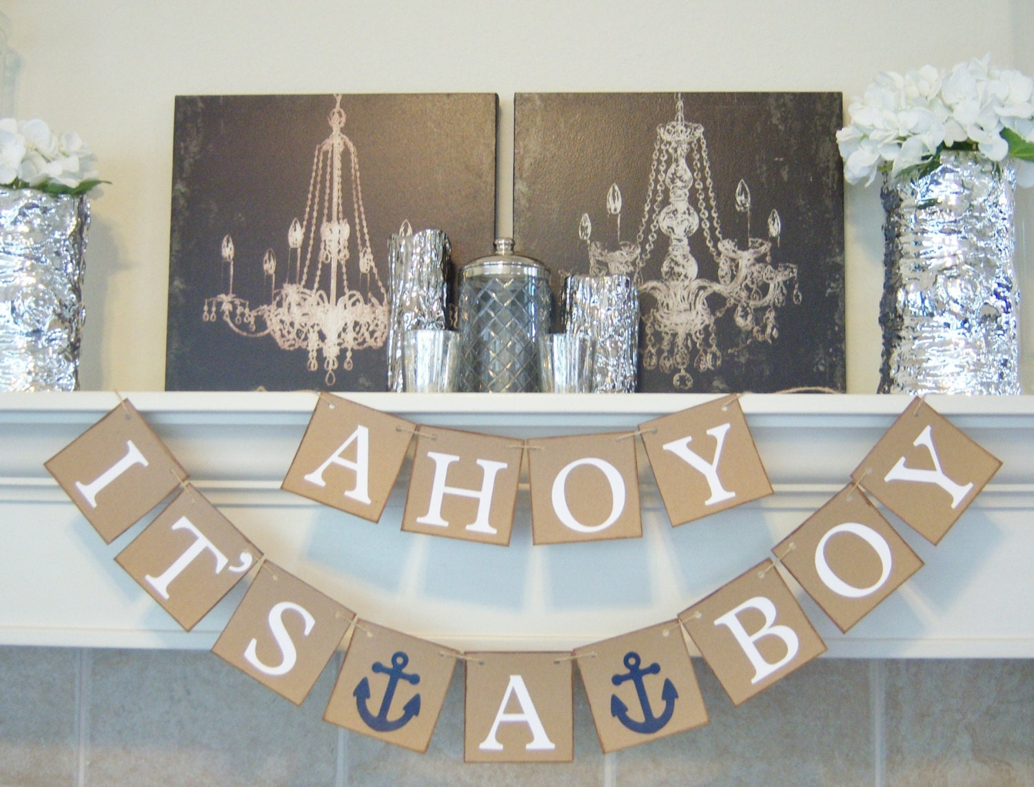 Ahoy its a boy baby shower banner nautical theme baby zoom filmwisefo