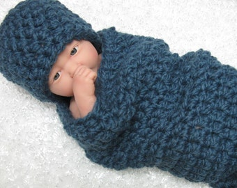 Chunky Newborn Cocoon and Hat Set in Denim Blue