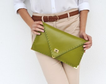 Green leather clutch / Green leather bag/ Green leather purse / Green clutch / Bridesmaids gift