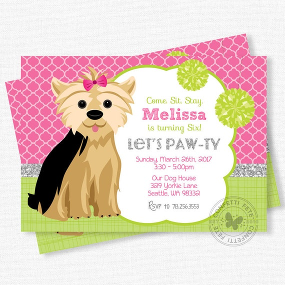 Items similar to puppy party invitation dog birthday invitation items similar to puppy party invitation dog birthday invitation yorkie invitation pink and green invitation girl birthday invitation on etsy filmwisefo Gallery