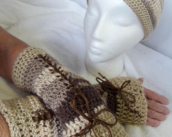 Crochet Set:Lace-Up Fingerless Gloves & Matching Crochet Headband/Ear Warmer,Fingerless/Lace-Up Gloves,Victorian Gloves,Handmade Gloves